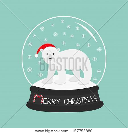 Arctic polar bear cub in red santa hat. Cute cartoon baby character. Crystal ball with snow. Merry Christmas card Candy cane text. Flat design Blue background. Vector illustration