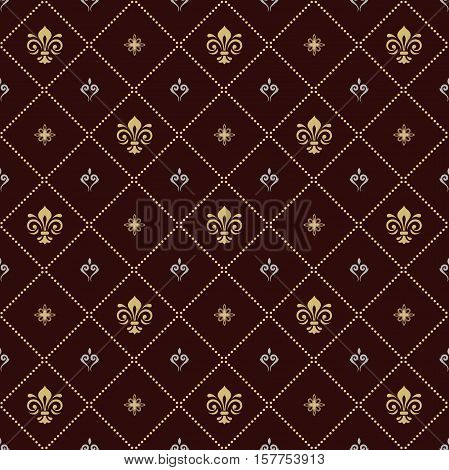 Seamless vector golden and silver ornament. Modern geometric pattern with royal lilies