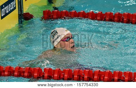 Hong Kong China - Oct 29 2016. Olympian and World Youth gold medalist Peter Bernek from Hungary in the finish. FINA Swimming World Cup Preliminary Heats Victoria Park Swimming Pool.