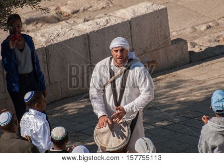 JERUSALEM, ISRAEL - JANUARY 20, 2011: Bar Mitzvah ritual at the Wailing wall  in Jerusalem, Israel.Bar Mitzvah is Jewish coming of age rituals.