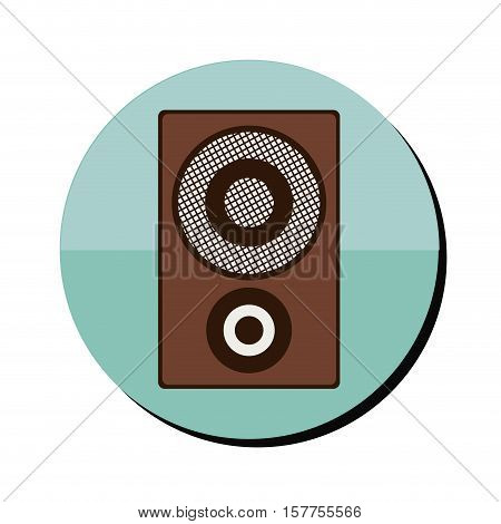 loudspeaker in wood box in round frame vector illustration