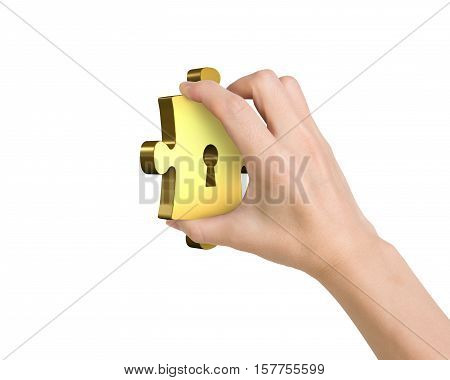 Hand Holding One Golden Puzzle Piece With Keyhole