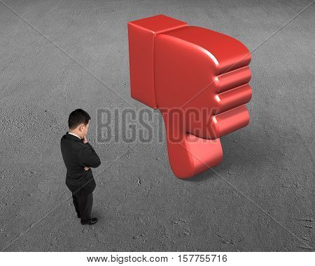 Standing Man Looking At Dislike Thumb Down Mark