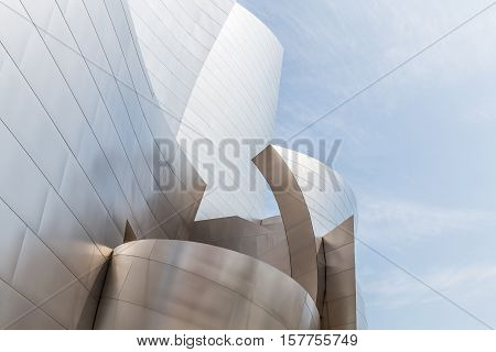 LOS ANGELES, CALIFORNIA - JUNE 5, 2016:  Architectural detail of the landmark Disney Concert Hall, designed by Frank Gehry.