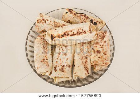 prepared homemade doner kebab or shwarma in dish