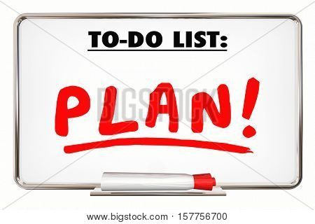 Plan. To Do List. Writing Word. Priority. Organize. Tasks. 3d Illustration