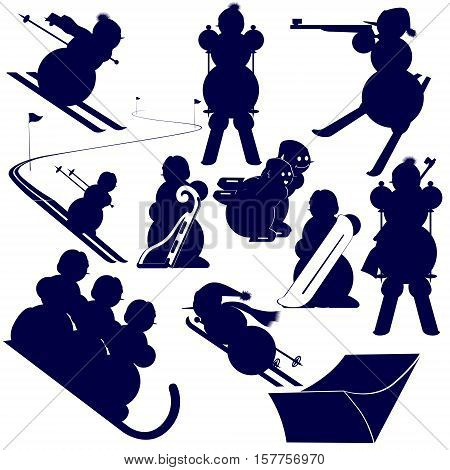 Abstract image of athletes of winter sports. The illustration on a white background.