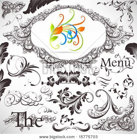 vector set: calligraphic design elements and page decoration - lots of useful elements to embellish your layout. With colorful spring 3d ornament.