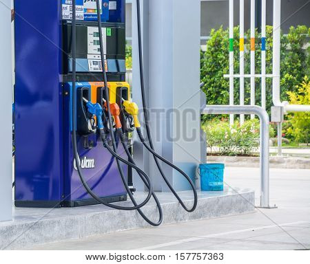 Chanthaburi Thailand - November 13 2016: PTT gas station on November 13 2016 in Chanthaburi Thailand. PTT is largest oil company in Thailand