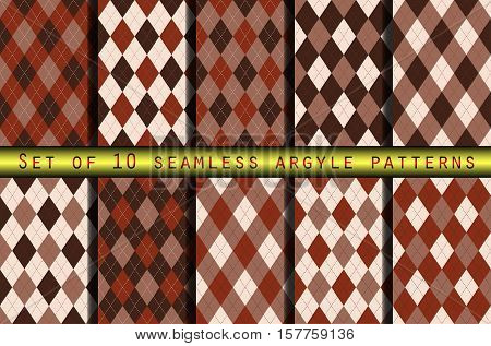 Set of ten seamless argyle plaid patterns in henna brown color palette. Traditional diagonal check print for argyle socks, polos, jerseys, golf outfits & home textiles.