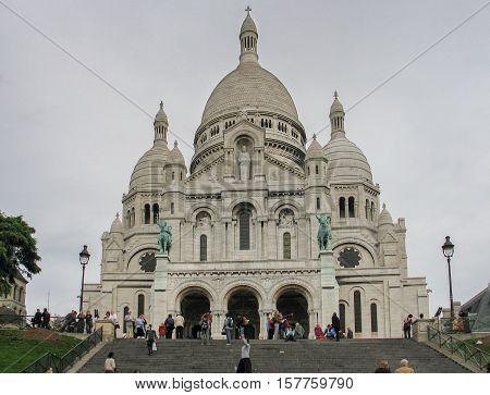 PARIS FRANCE - NOVEMBER 28 2006: Basilica of the Sacre Coeur on Montmartre Paris France