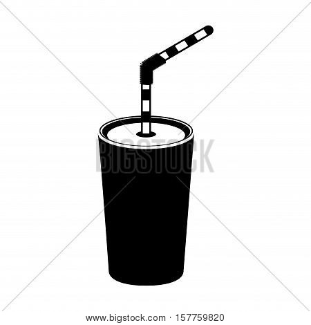 silhouette monochrome with tumbler with straw vector illustration
