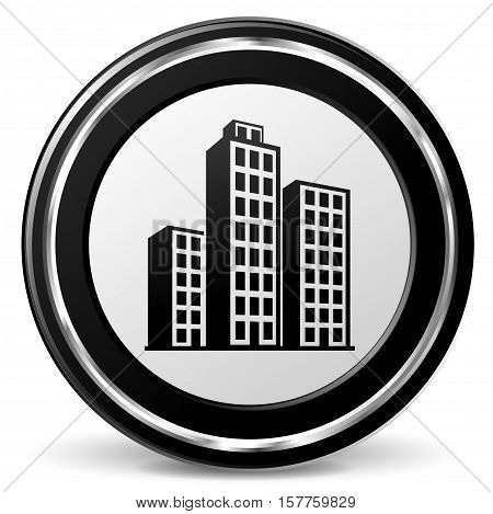 Illustration of buildings black and gray icon