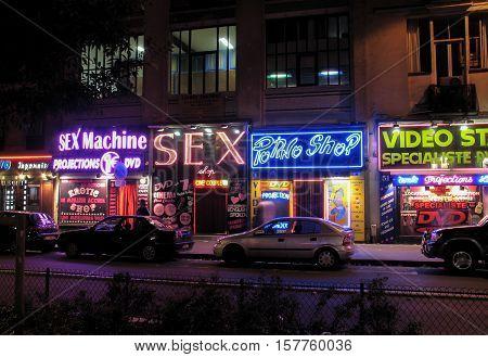PARIS FRANCE - NOVEMBER 31 2006: The sex shops street in Paris at night
