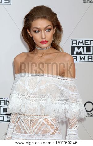 LOS ANGELES - NOV 20:  Gigi Hadid at the 2016 American Music Awards at Microsoft Theater on November 20, 2016 in Los Angeles, CA