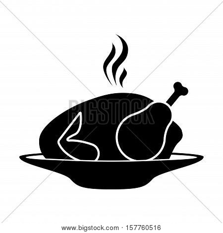 silhouette monochrome dish with hot chicken roast vector illustration