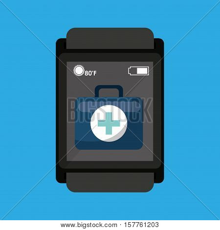 smartwatch device health bag first aid vector illustration eps 10