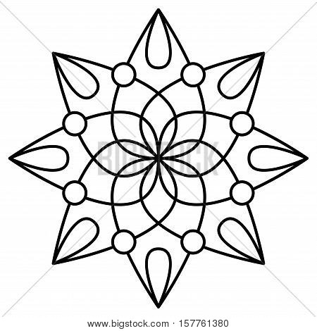 Simple Mandala Flower Design For Coloring Book Pages Doodle Floral Pattern In Bold Print