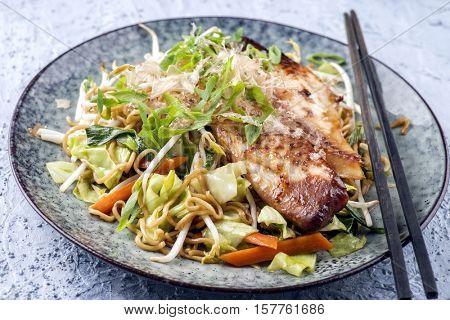 Chicken Teriyaki with Yakisoba Noodles and Vegetable on Plate