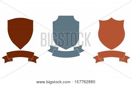 Shields with ribbon set. Different shield shapes collection. Heraldic royal design. Colorful vector illustration.