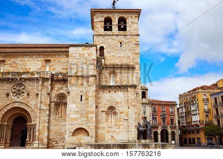Zamora San Juan church in Plaza Mayor at spain
