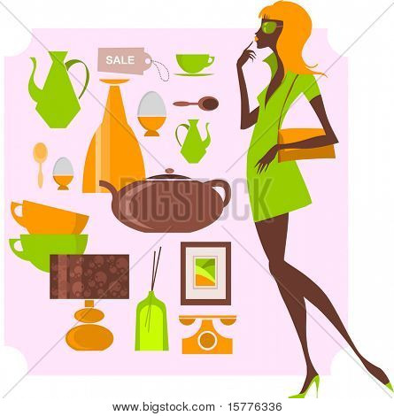 shopping elements and woman