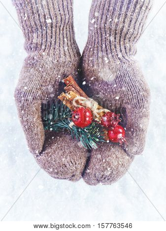 Female hands in knitted mittens with nice Christmas firtree bouquet close up on light background with snowfall. Hands in woolen gloves holding  Christmas decoration. Winter concept.