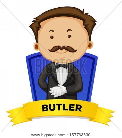 Label design with male butler illustration