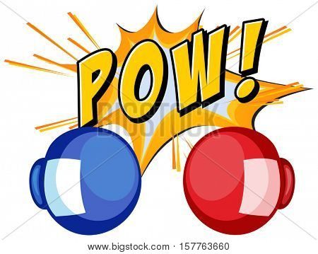 Expression word pow with boxing gloves illustration
