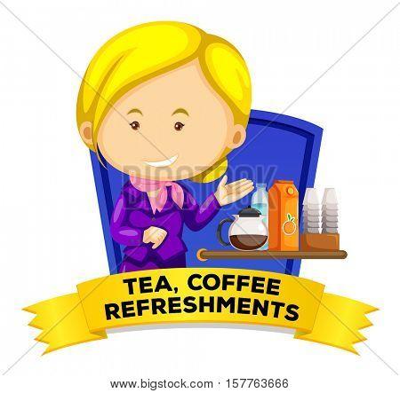 Label design with flight attendant serving drinks illustration