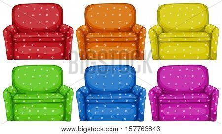 Polkadots sofa in six colors illustration