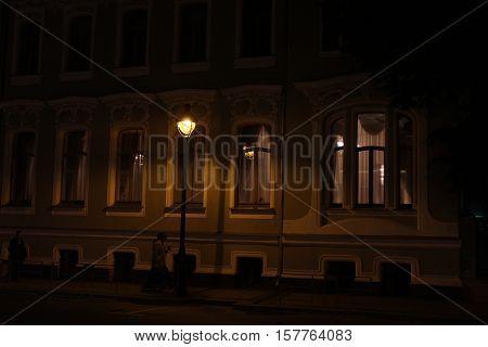 A fragment of the building of the Brazilian Embassy in Moscow, Bolshaya Nikitskaya Street at night