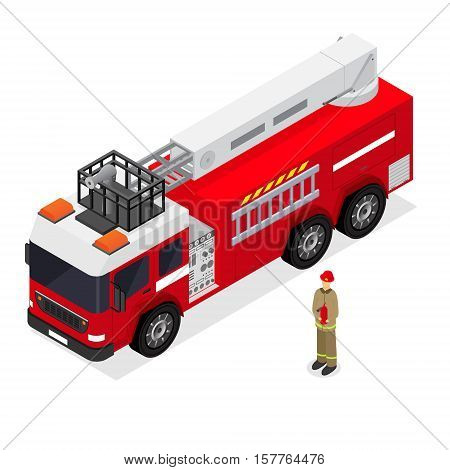 Red Fire Engine and Firefighter in Uniform Isometric View. Emergency Transport Auto. Vector illustration