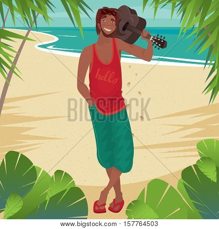 Smiling Man Holding Guitar On The Beach