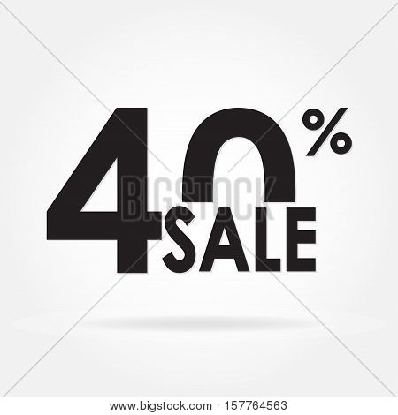 Sale 40% and discount price sign or icon. Sales design template. Shopping and low price symbol. Vector illustration.
