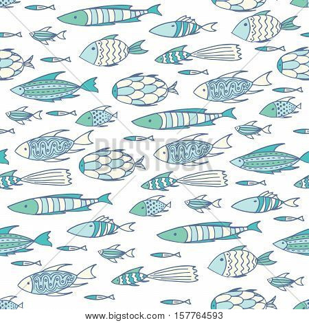 Soft White Pattern With Shoal Of Fishes