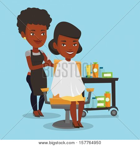 An african-american female hairdresser cutting hair of young woman. Professional hairdresser making haircut to a client with scissors in beauty saloon. Vector flat design illustration. Square layout.