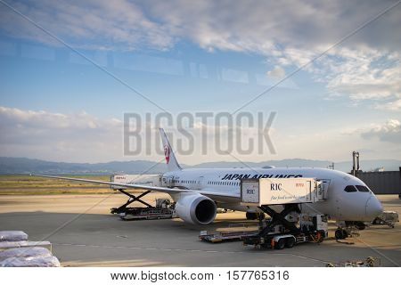 Osaka, Japan - November 2016 - Japan Airlines (JAL) airplanes in Kansai International Airport, Osaka, Japan.  Japan Airlines Co., Ltd., is the flag carrier airline of Japan and the second largest in the country behind All Nippon Airways.