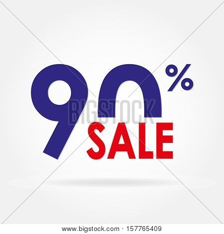 Sale 90% and discount price sign or icon. Sales design template. Shopping and low price symbol. Colorful vector illustration.