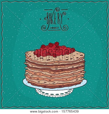 Thin Pancakes With Red Berries On Lacy Napkin