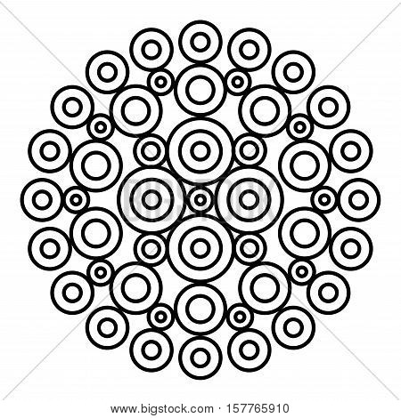 Simple mandala flower design for coloring book pages. Doodle floral pattern in bold print. Easy mandala page for beginners.