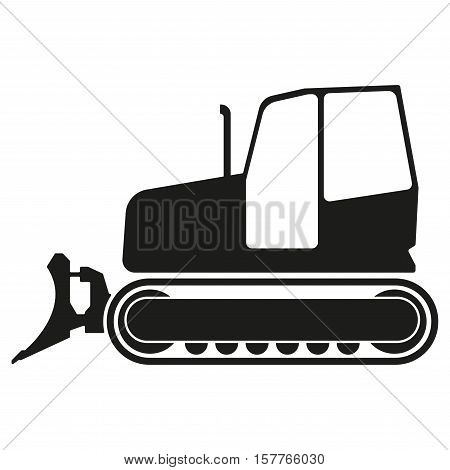 Tractor or bulldozer icon isolated on white background. Tractor grader silhouette. Vector illustration.