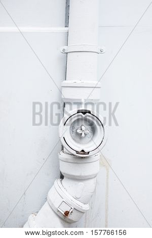 White water pipe on the outside wall