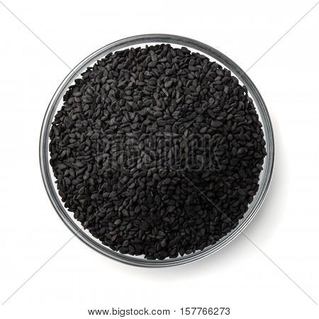 Top view of black sesame seeds bowl isolated on white
