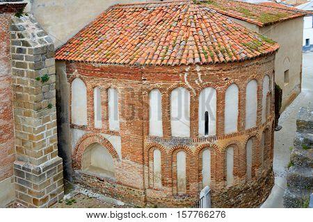 Galisteo church in Caceres of Extremadura Spain by the Via de la Plata way