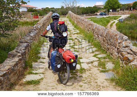 Via de la Plata way biker to Santiago in Spain at Extremadura