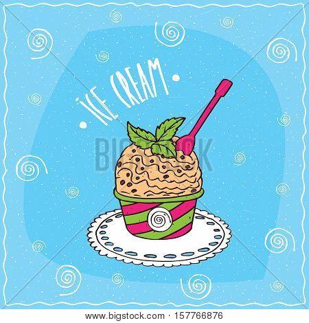 Vanilla Scoop Of Ice Cream In Cup