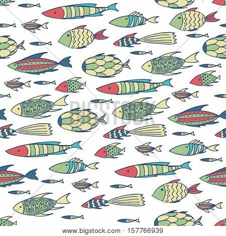 Seamless pattern with shoal of small different fishes on white background. Handmade cartoon style