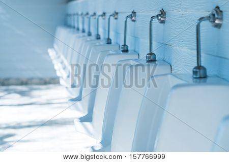Outdoor Urinals Men public toilet, Blue effect added.