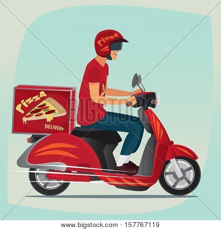 Young man working the pizza courier. Riding on branded red scooter for carries rush order. Food delivery concept. Side view and cartoon style